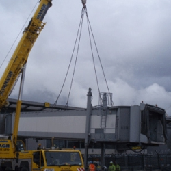 200 ton demag removing air bridges in Dublin airport