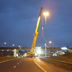 250 ton crane installing bridge beams M50 Dublin