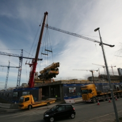 350 ton crane lifting 120 ton crane onto a deck in Dublin