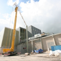 spierings 6 axle tower crane working in factory in Kilkenny