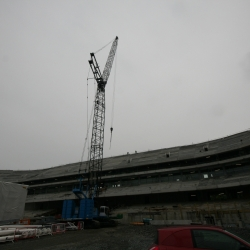 280 ton crawler crane erecting pre cast in the new Aviva stadium