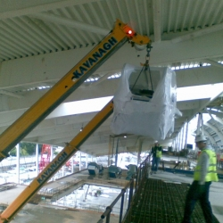 2 x Demag AC 40-1 city cranes installing travellators