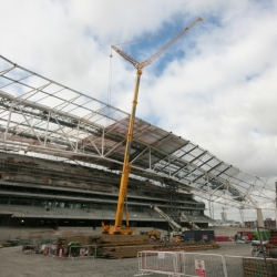 300 ton grove working on 61 metre luffing jib on the new Aviva stadium Dublin